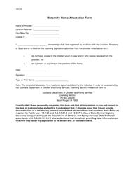 """""""Maternity Home Attestation Form"""" - Louisiana"""