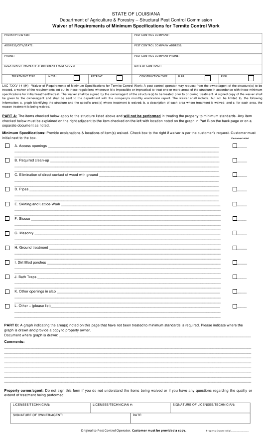 """""""Waiver of Requirements of Minimum Specifications for Termite Control Work"""" - Louisiana Download Pdf"""