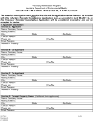 """Form VCP001 """"Voluntary Remedial Investigation Application"""" - Louisiana"""