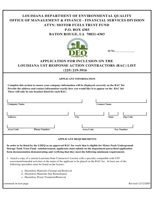 rac eligibility certification louisiana ust inclusion response application pdf
