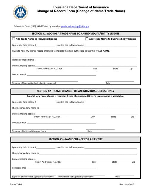 Form COR-1  Printable Pdf