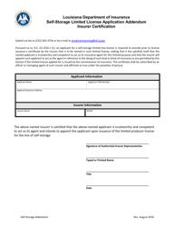 """Self-storage Limited License Application Addendum Insurer Certification Form"" - Louisiana"