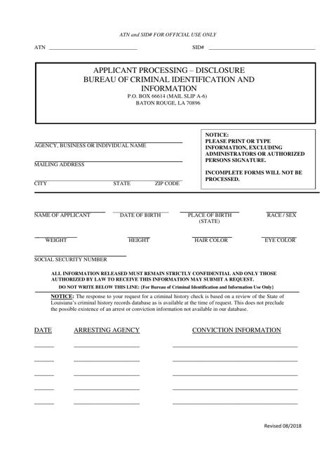 """General Disclosure Form"" - Louisiana Download Pdf"