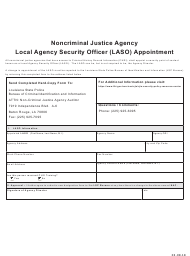 """Noncriminal Justice Agency Local Agency Security Officer (Laso) Appointment"" - Louisiana"