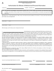 "Form A ""Authorization for Release of Medical and Personal Information"" - Louisiana"