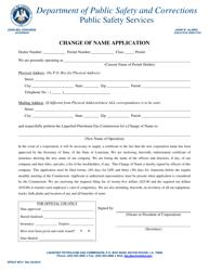 "Form DPSLP8012 ""Change of Name Application"" - Louisiana"