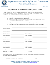 "Form DPSLP8012 ""Reciprocal Examination Application Form"" - Louisiana"