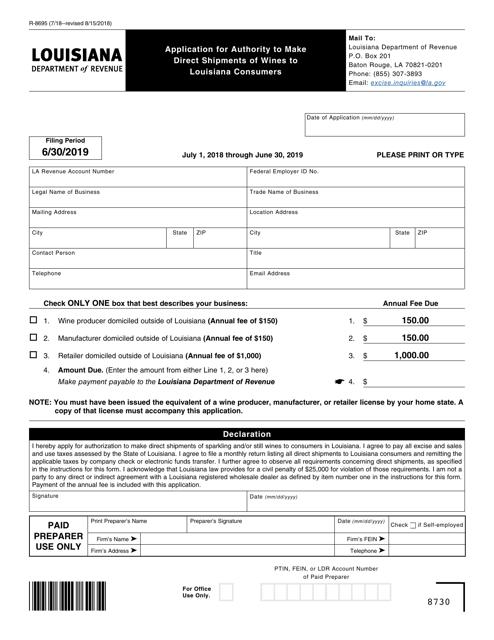 Form R-8695 Fillable Pdf