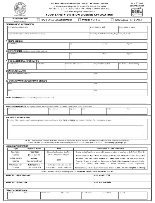 """""""Food Safety Division License Application Form"""" - Georgia (United States) Download Pdf"""