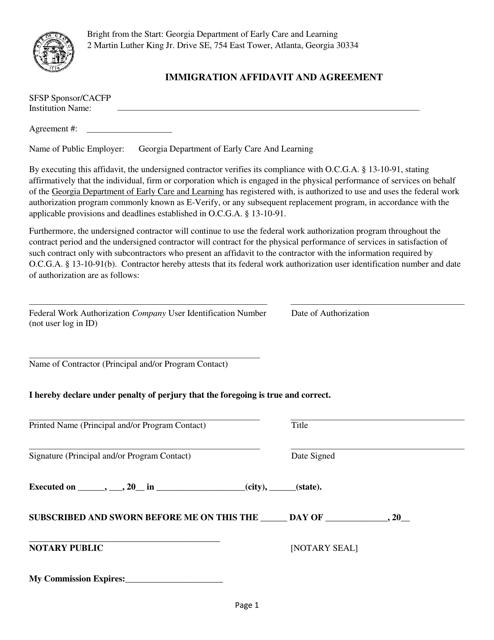 """Immigration Affidavit and Agreement Form"" - Georgia (United States) Download Pdf"