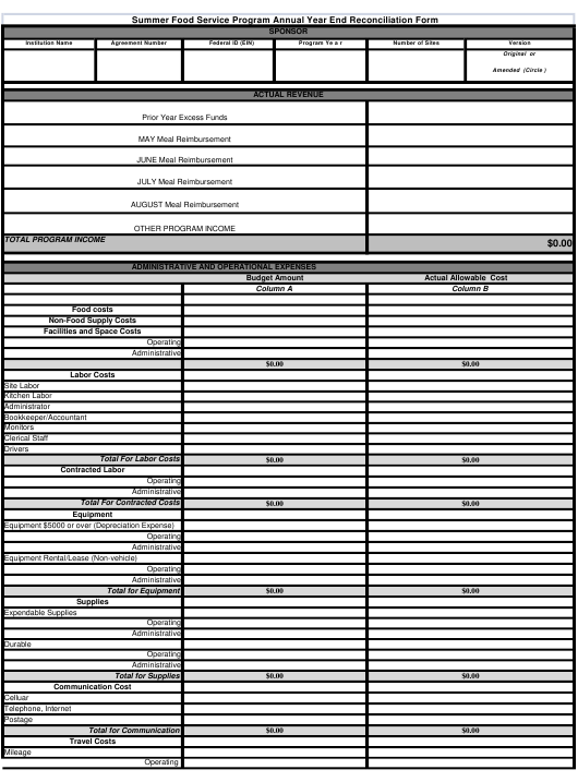 """""""Summer Food Service Program Annual Year End Reconciliation Form"""" - Georgia (United States) Download Pdf"""