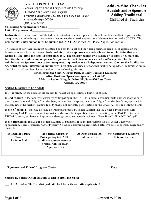 """""""Add-A-site Checklist - Administrative Sponsors (Adding Traditional Child/Adult Facilities)"""" - Georgia (United States) Download Pdf"""