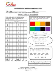 """Preschool Checklist of Basic School Readiness Skills"" - Georgia (United States)"