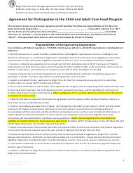 """Agreement for Participation in the Child and Adult Care Food Program"" - Georgia (United States)"