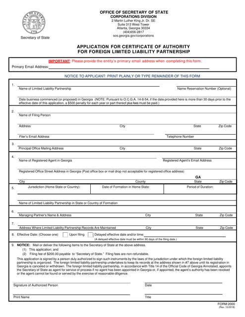 Form 2000  Printable Pdf