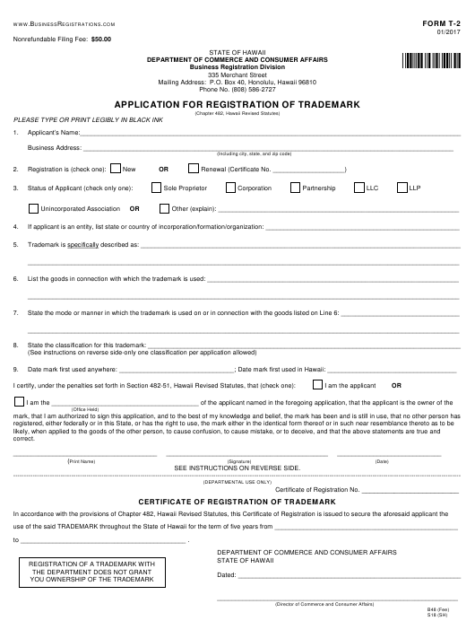 Form T-2 Download Fillable PDF or Fill Online Application ... Printable Trademark Application Form on immigration application form, germany application form, business loan application form, education application form, transportation application form, corporate application form, goodwill application form, nomination application form, property application form, llc application form, real estate application form, patent application form, title application form, government application form, restaurant application form, business name application form, security application form, sports application form, software application form, finance application form,