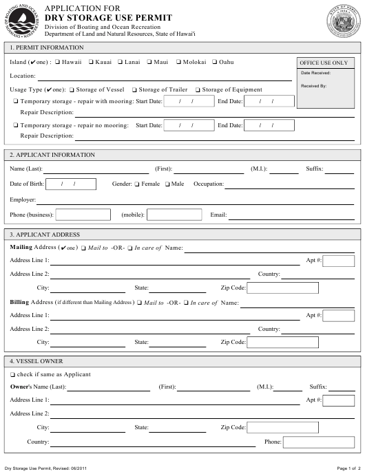 """""""Application for Dry Storage Use Permit"""" - Hawaii Download Pdf"""