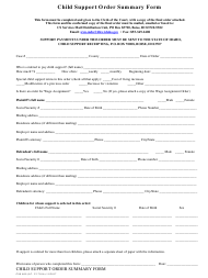 "Form CSS809 ""Child Support Order Summary Form"" - Idaho"
