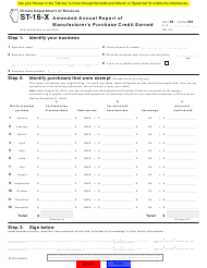 "Form ST-16-X ""Amended Annual Report of Manufacturer's Purchase Credit Earned"" - Illinois"