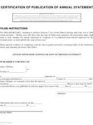 "Form IL581-0037 ""Certification of Publication of Annual Statement"" - Illinois"