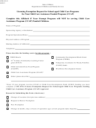 Form CFS 672-5 Licensing Exemption Request for School-Aged Child Care Programs for Non-child Care Assistance Funded Program (Ccap) - Illinois