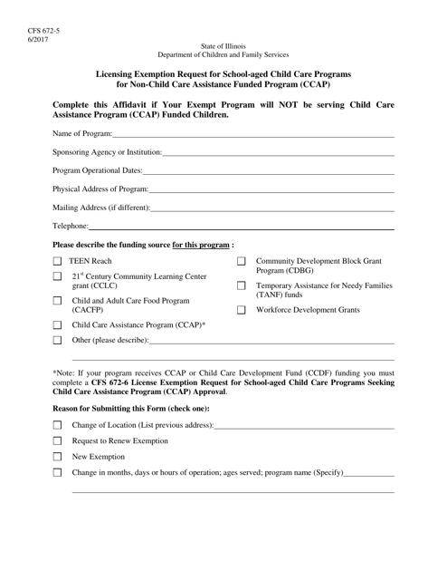 Form CFS672-5  Printable Pdf