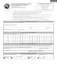 State Form 56288 Application for Municipal Vehicle Excise or Wheel Tax Refund - Indiana