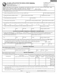 "State Form 46573 (CG-AB(R)) ""Application for Annual Bingo Renewal"" - Indiana"