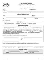 DNR Form 542-0762 Site Monitoring Report for Leaking Underground Storage Tank Sites - Iowa