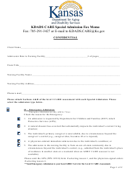 """Kdads Care Special Admission Fax Memo"" - Kansas"