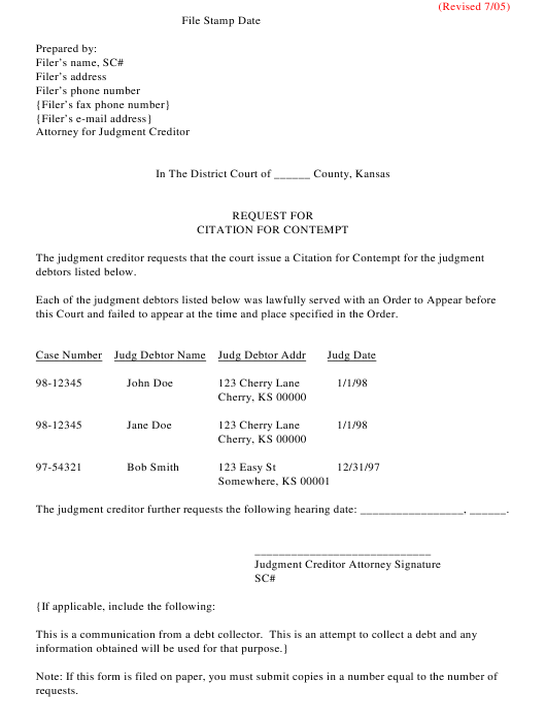 """""""Request for Citation for Contempt"""" - Kansas Download Pdf"""
