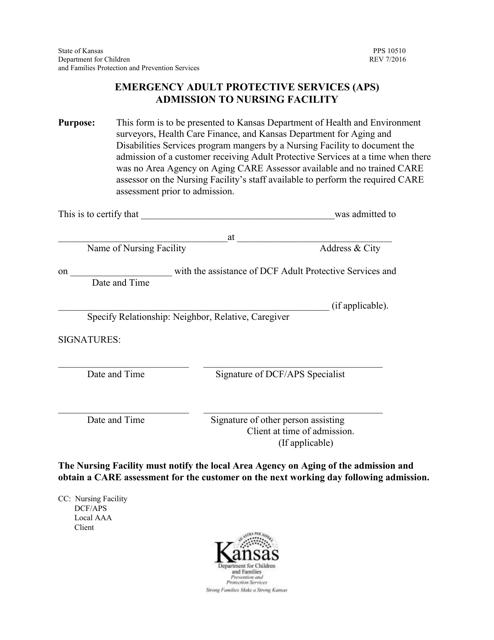 Form PPS10510 Printable Pdf