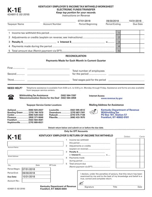 Form 42A801-E (K-1E)  Printable Pdf
