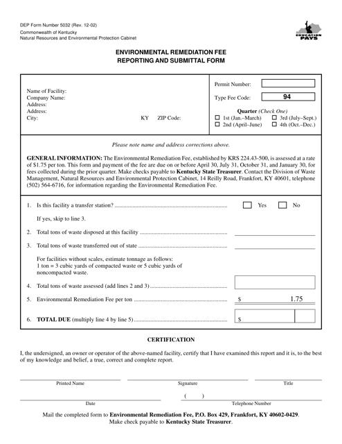 Form DEP5032  Printable Pdf