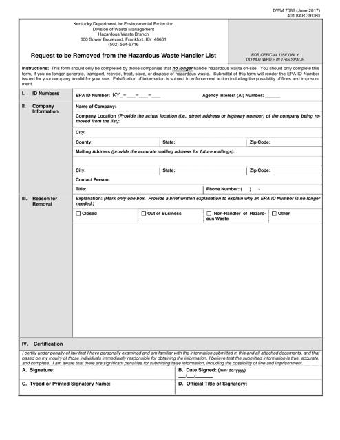 Form DWM7086  Printable Pdf