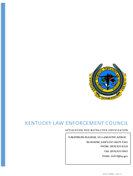 "KLEC Form 1 ""Application for Instructor Certification"" - Kentucky"