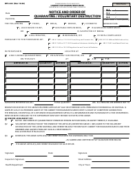 "Form DFS-222 ""Notice and Order of Quarantine / Voluntary Destruction"" - Kentucky"
