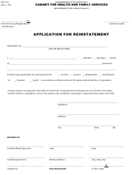 "Form DFS215 ""Application for Reinstatement"" - Kentucky"