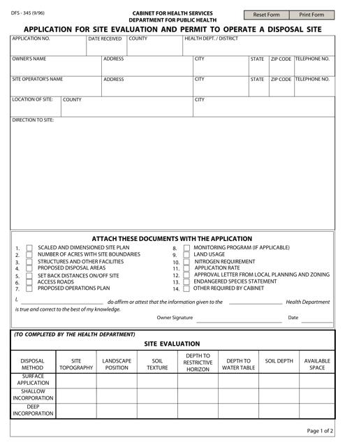 Form DFS-345  Printable Pdf