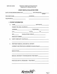 "Form MAP-005 ""Epsdt Dental Evaluation Form"" - Kentucky"