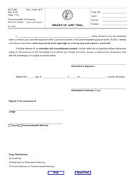 "Form AOC-440 ""Waiver of Jury Trial"" - Kentucky"