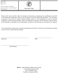 "Form AOC-INT-7 ""Release Form"" - Kentucky"