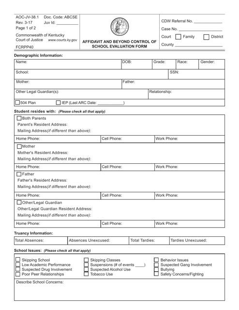 Form AOC-JV-38.1  Printable Pdf