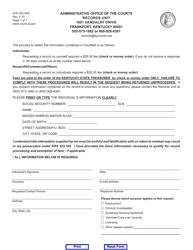 "Form AOC-RU-004 ""Records Check Request"" - Kentucky"