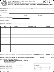 "Form AES-07-12 ""Ground / Aerial Owner Operator Additional Equipment Registration"" - Louisiana"