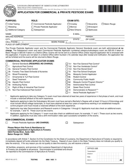 Form AES-07-43  Printable Pdf