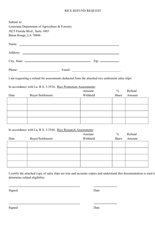 """Rice Refund Request Form"" - Louisiana Download Pdf"