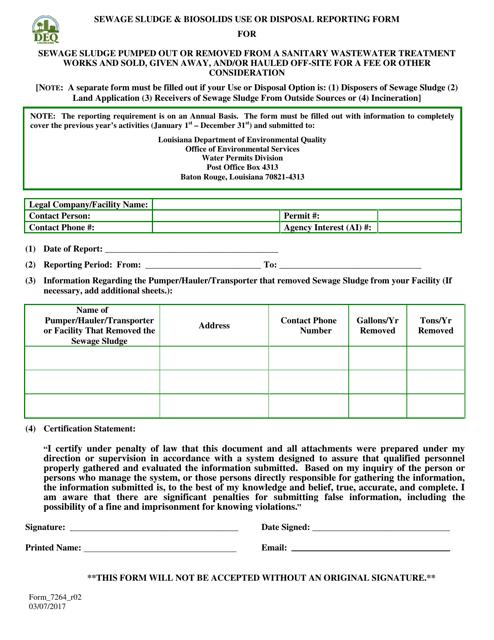 Form 7264_R02 Printable Pdf