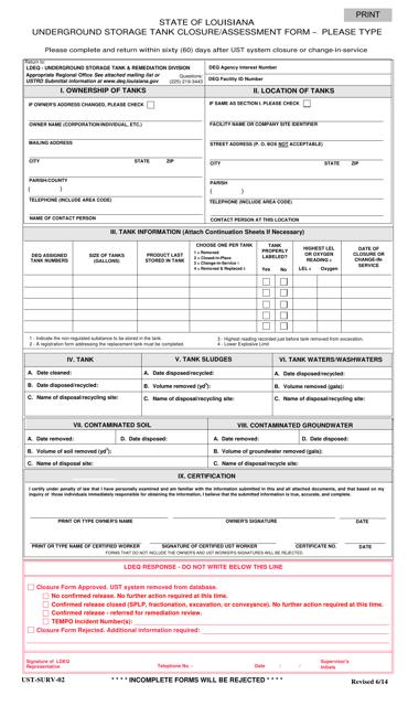 Form UST-SURV-02 Printable Pdf