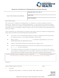 "Form 206P ""Response to Statement of Disagreement to Access Records"" - Louisiana"